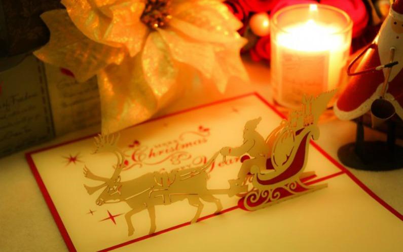 クリスマスカードとデコレーション