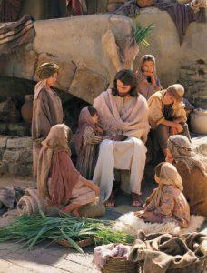 まことのぶどうの木である主と話す子供たち