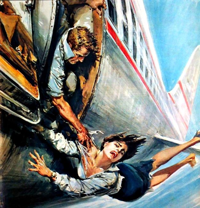 客室乗務員が飛行機から落ちそうになっているところ