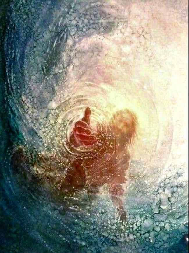 イエスが水の中に手を伸ばす
