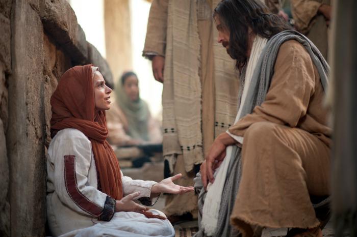 病を持った女性に話しかけられるイエス・キリスト